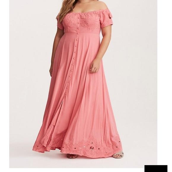 torrid Dresses & Skirts - Torrid. Off shoulder. Size 2. Maxi. Pink/coral.